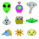 Alien face icon set. Humanoid head outline, futuristic space invader, paranormal fantasy emblem  illustration Royalty Free Stock Images