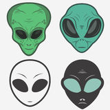 Alien face icon set, humanoid head, vector. Alien face icon set, humanoid head outline, futuristic space invader, paranormal fantasy emblem vector illustration Stock Photography