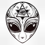 Alien face icon vector illustration. Alien face icon. Conspiracy theory concept, tattoo art. Isolated vector illustration Royalty Free Stock Photos