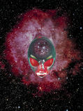 Alien face in outer space Stock Images