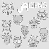 Alien faces collection Royalty Free Stock Photography