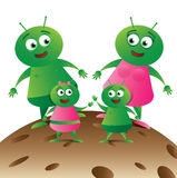 Alien Family on Planet_01 Royalty Free Stock Photos