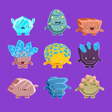 Alien Fantastic Golem Characters Of Different Humanized Rocks With Friendly Faces Emoji Stickers Collection Stock Photo