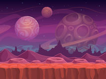 Alien fantastic landscape. Seamless space background, separated layers for game design stock illustration