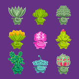 Alien Fantastic Plant Characters With Succulent Vegetation And Humanized Root With Friendly Faces Emoji Stickers Set Stock Photos