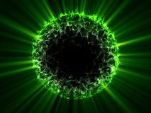 Alien fantasy globe green sphere with green shines Royalty Free Stock Photo