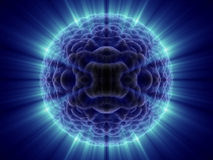 Alien fantasy unknown micro cell with blue shines Royalty Free Stock Photos