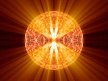 Alien fantasy unknown sun with hot orange shines. In empty space Stock Photography