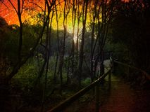 Alien fantasy world sky. Sunset on an alien world with a path royalty free stock photography