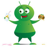 Alien with Fast Food_01 Stock Photo