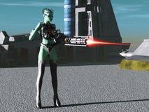 Alien female cyborg vector illustration