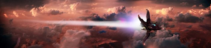 Alien flight. Alien or futuristic shuttle flying over a red planet with clouds Stock Photos