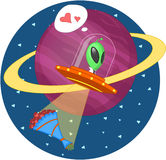 Alien and flowers. The alien flies in space. Vector illustration Royalty Free Stock Photos