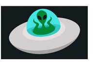 Alien. Flying across the universe in spaceship, flat design Stock Photo