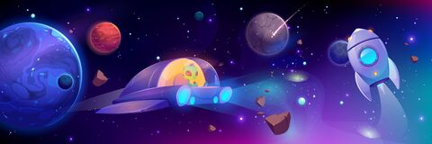 Free Alien Flying In Space Ship, Futuristic Technology Royalty Free Stock Image - 168703396