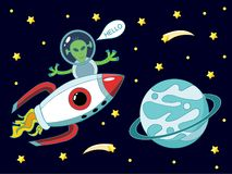 Alien flying on a rocket into space next to the planet and screaming hello stock illustration