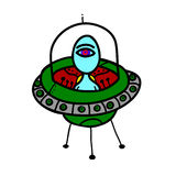 Alien in a flying saucer Stock Image