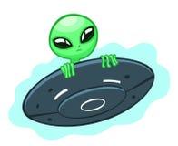 Alien in flying saucer Stock Photos