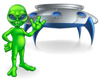 Alien and Flying Saucer Space Ship Royalty Free Stock Image