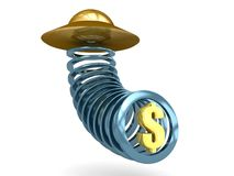 Alien Flying Saucer Taking Dollar Royalty Free Stock Photos