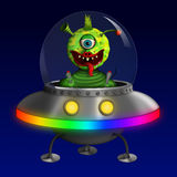 Alien in Flying Saucer UFO Stock Photo