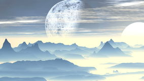Alien Foggy Planet. Above the mountains, covered with a white luminous mist, a large planet moon slowly rotates. Above the horizon is a bright white sun. White vector illustration