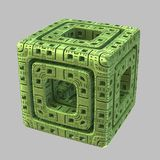 Alien Fractal Cube. A single isolated highly detailed abstract green fractal alien cube Vector Illustration