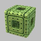 Alien Fractal Cube. A single isolated highly detailed green fractal alien cube Stock Illustration