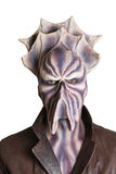 Alien frontal. Alien with tentacle and purple skin frontal portrait Stock Image