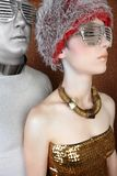 Alien futuristic couple portrait silver gold Stock Photo