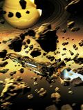 Spaceship crossing an asteroids belt. Alien or futuristic spacecraft crossing an asteroids belt to approach of a ring planet similar to Saturn vector illustration