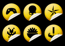 Alien game play yellow icons Royalty Free Stock Photo