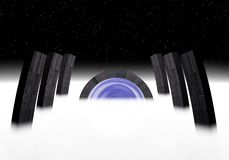 Alien gate to stars. A gate to another planets made by aliens Royalty Free Stock Image