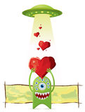 Alien gives a love to UFO Royalty Free Stock Images