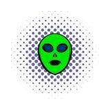 Alien green head icon, comics style Stock Image