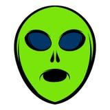 Alien green head icon, icon cartoon Royalty Free Stock Images
