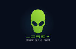 Alien green logo. Abstract character. Incognito. Royalty Free Stock Photo