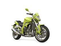 Alien green modern sports motorcycle - beauty shot. Isolated on white background Stock Images
