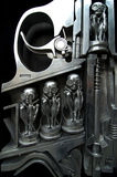 Alien gun. Alien revolver cut-section with alien bullets and trigger stock image