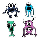 Alien hand drawn cute funny design. Imagination drawing vector set collection. vector illustration
