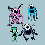 Alien hand drawn cute funny design. Imagination drawing vector set collection. stock illustration
