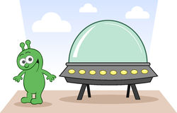 Alien Happy With Spaceship Royalty Free Stock Images