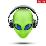 Alien head with headphones. Vector. Royalty Free Stock Photography