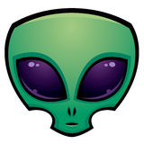 Alien Head Icon. Cartoon alien head illustration with big dark eyes royalty free illustration