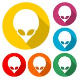 Alien head icon, Extraterrestrial alien face, color icon with long shadow. Simple vector icons set Stock Image