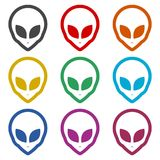 Alien head icon, Extraterrestrial alien face, color icons set. Simple vector icon Stock Photo