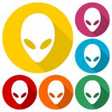 Alien head icons set with long shadow. Vector icon Royalty Free Stock Photography