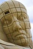 Alien Head Sand Sculpture Stock Photo