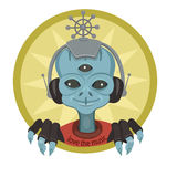 Alien with headphones listening to music Stock Photography