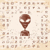 Alien hieroglyphics carved in stone. Stock Image